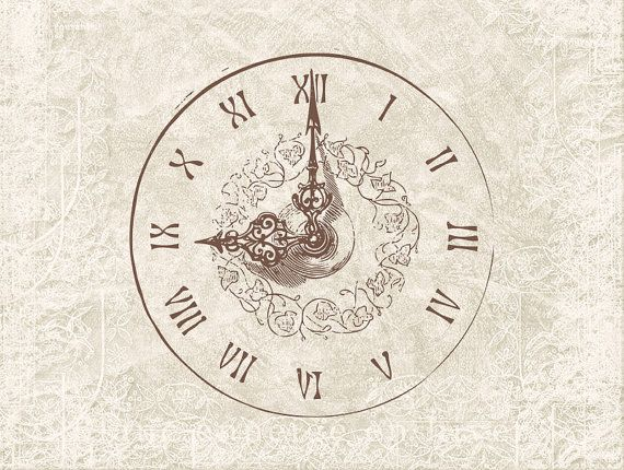 Clock Illustration Digital Download  Antique by DIYVintageArt, $1.20