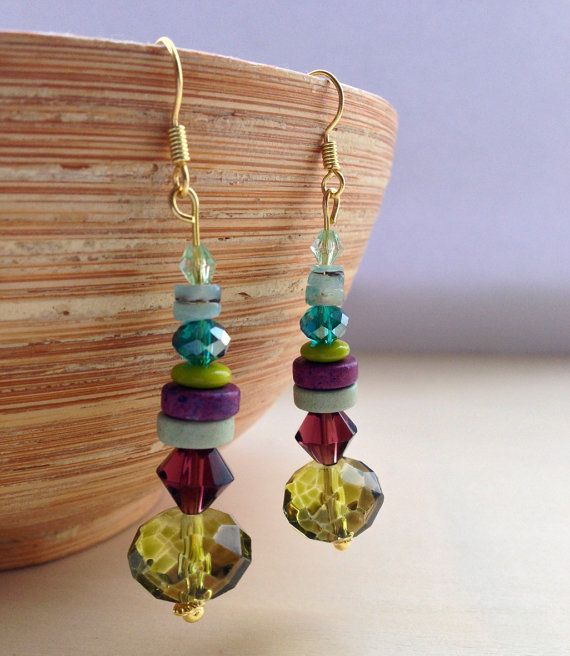 Olive Green Glass Drop Earrings  Mixed Czech by Deliciousbits, £8.49