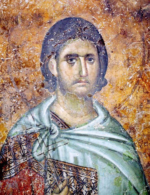 Святой мученик. Фреска монастыря Сопочаны, Сербия. XIII век.