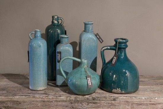 Brynxz Turquoise geglazuurde vazen en flessen