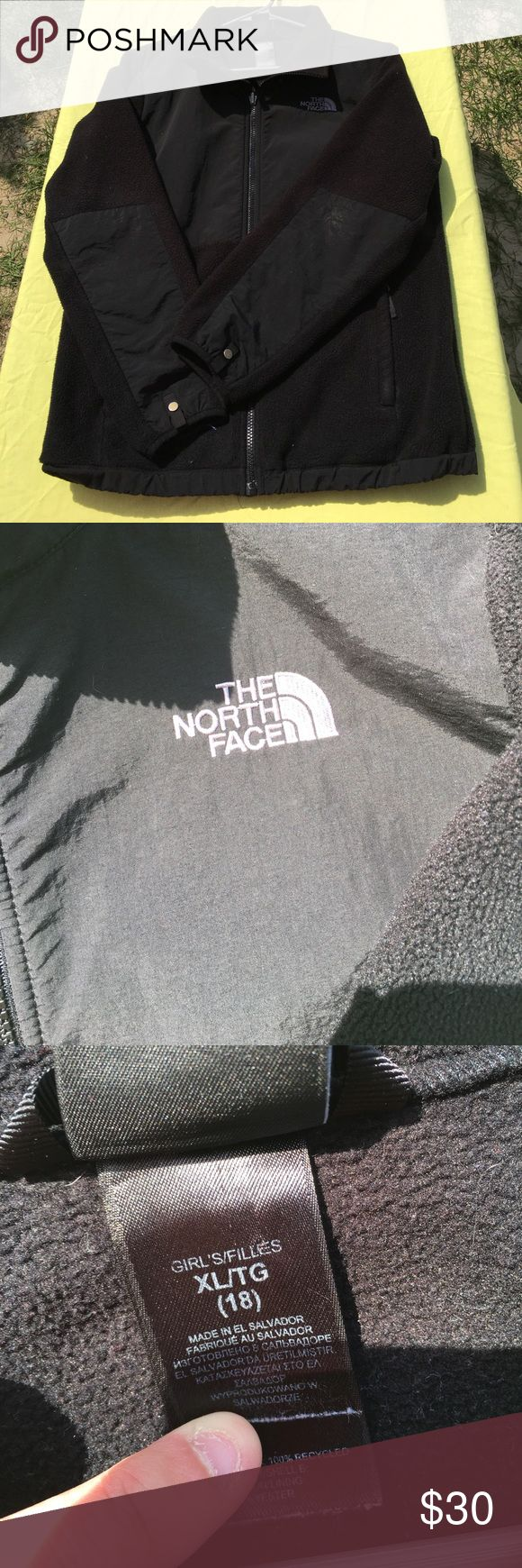 """Girls North Face Jacket Used - Size XL in Girls - Black - Has name written on """"This Jacket Belongs To"""" tag but that can be written over/marked out - otherwise just gently used condition The North Face Jackets & Coats"""