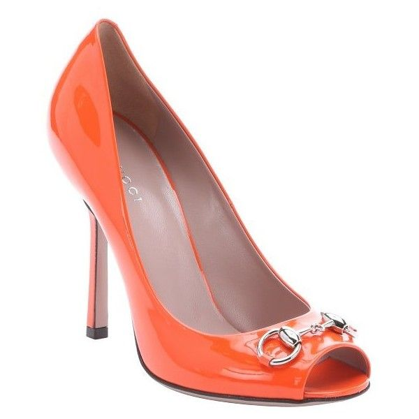 Gucci Orange patent leather horsebit detail peep toe pumps ($473) ❤ liked on Polyvore featuring shoes, pumps, orange, neon pumps, neon orange shoes, peep-toe pumps, neon orange pumps and orange pumps