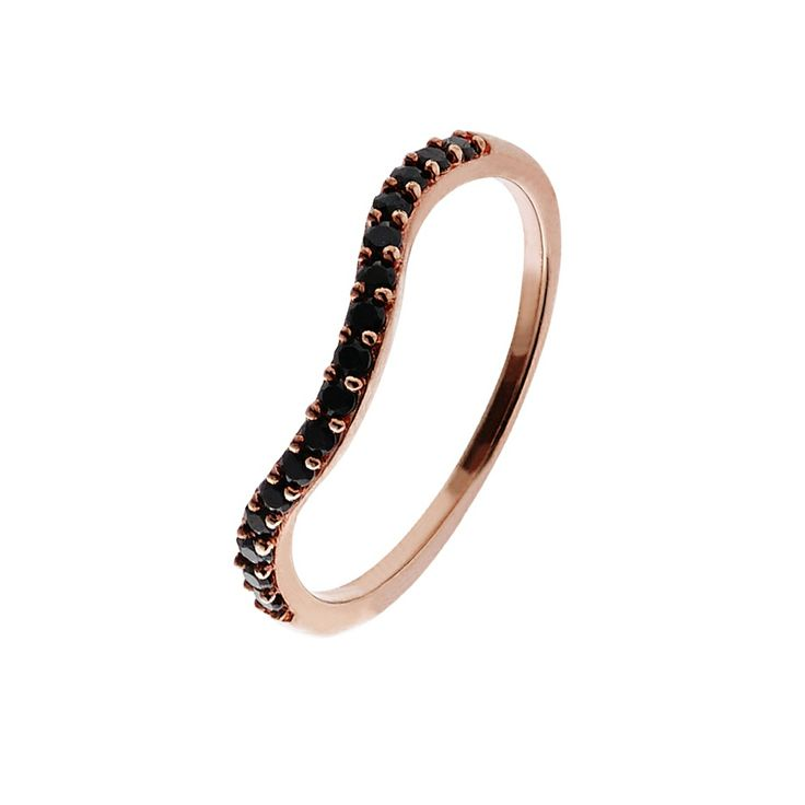 Oxette Rose Gold Silver 925 Ring with black zircons - Available here http://www.oxette.gr/kosmimata/daktulidia/ster.silver-rose-gold-pl.ring-blk.cz-624l-1/   #oxette #rosegold #ring #jewellery