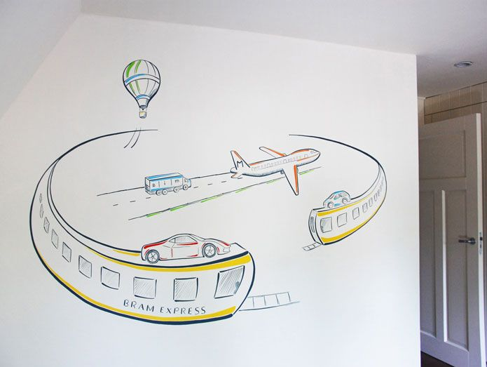 25 beste idee n over vliegtuig jongens kamers op pinterest jongen kinderdagverblijf thema 39 s - Ontwerp muurschildering ...