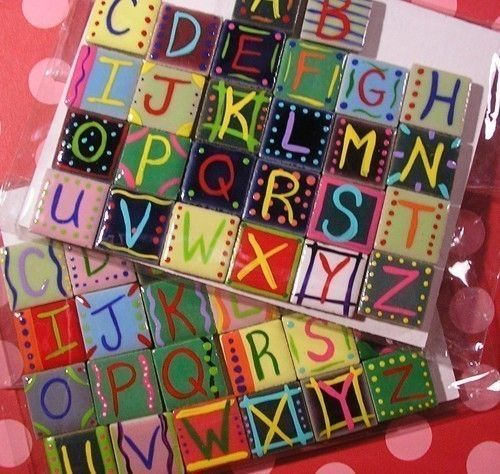 Alphabet Letter Ceramic Handpainted Tile Magnet Set 17 00 Via Etsy Best Baltimore Craft Lettering Tiles