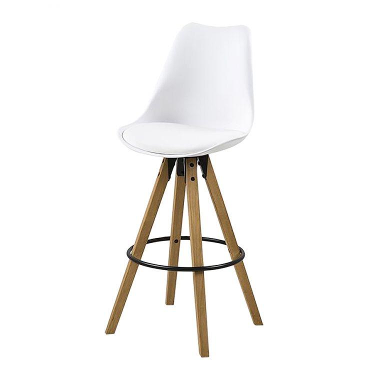 Barstoelen Aledas I (2-delige set) - kunstleer/massief rubberboomhout - Wit