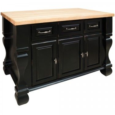 "Tuscan Kitchen Island 	 52-5/8"" x 32-3/8"" x 35-1/4"" in Distressed Black. By Hardware Resouces"