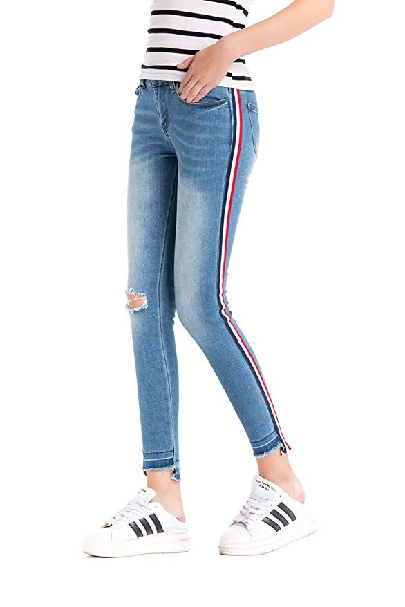 07cebb9cbdba1 Pohiya Women's Side Stripe Ripped Skinny Jeans for Ladies / Raw Hem Jeans  for Women / Latest Denim Fashion Trends / Fall Fashion This Year.