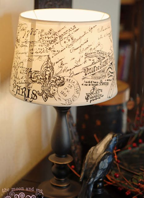 DIY French Script Lampshade Copycat