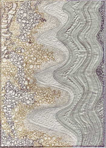 East Beach by Kate Dowty - quilt. Love the pebbles, bubbles, runoff, waves - transports me to the beach!