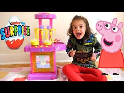 Huge Peppa Pig Toy Kitchen with Slime Baff and Kinder Surprise - YouTube