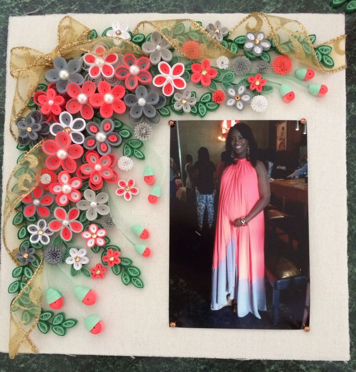 Quilled frame coral and gray by Ginny