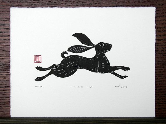 Linosnede afdrukken Haas / / handgemaakte / / door InkshedPress
