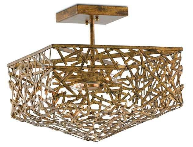 """Nothing but human hands could account for the incredible construction and detail that goes into the Confetti semi-flush, a fine example of industrial chic design that weaves texture over texture. Wrought iron strips, each finished in hand-rubbed gold leaf, are painstakingly arranged by a skilled blacksmith to form a nest-like body that measures 14.5"""" square by 14.5"""" high. This semi-flush is perfect for an artist's studio, a cabin in the woods or an urban loft with edgy design notes."""