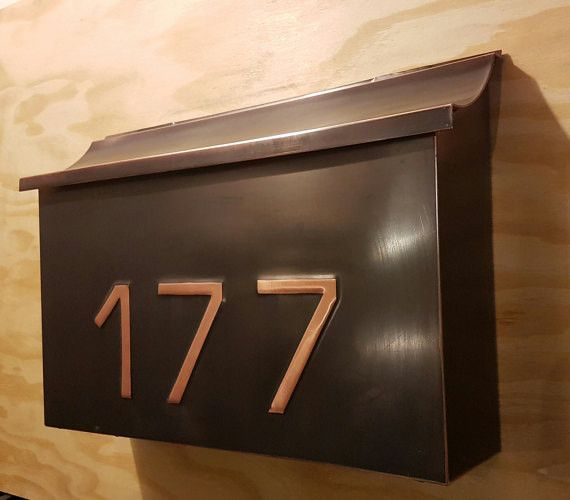 Extra Large Patina Copper Mailbox with embossed house numbers