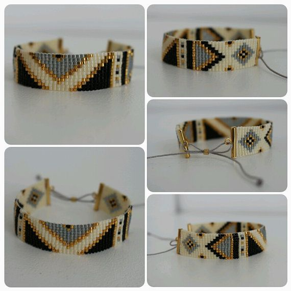 Bracelet en perles miyuki tissées, largeur 16mm, longueur du bracelet 15cm, se ferme avec un cordon en nylon ajustable et réglable en