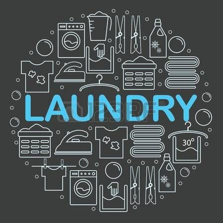 laundry symbol: Icons set laundry. Round banner with icons in the style of a laundry line. Icons laundry placed inside a circle on a dark background. Vector illustration. Illustration