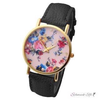 Damen Armbanduhr Blumen Meer mit Zirkonien Gelbgold PU...