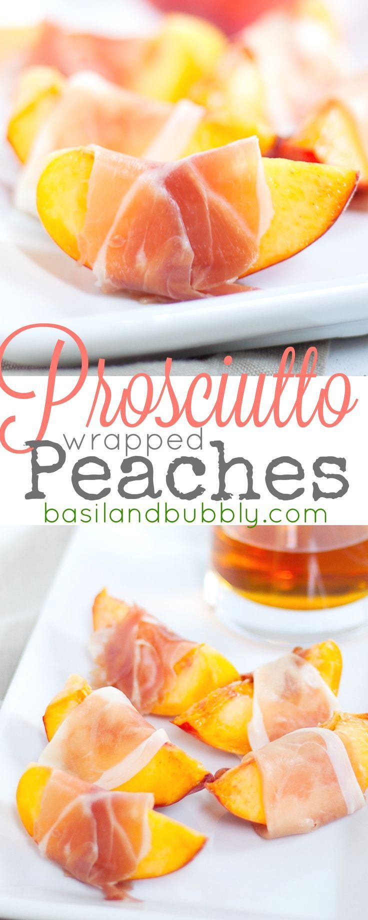 Proscuitto Wrapped Peaches -- a super easy no-bake summer appetizer that anyone can make.