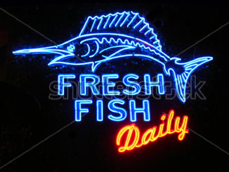 24 best restaurant and food neon sign images on pinterest for Fish neon sign