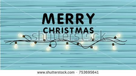 Realistic Christmas vector garland with light bulbs on a beautiful wooden background.