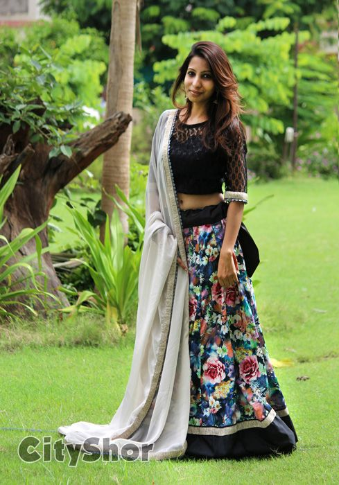Navratri Wear Black Floral Printed Cotton Lehenga #FloralCollection