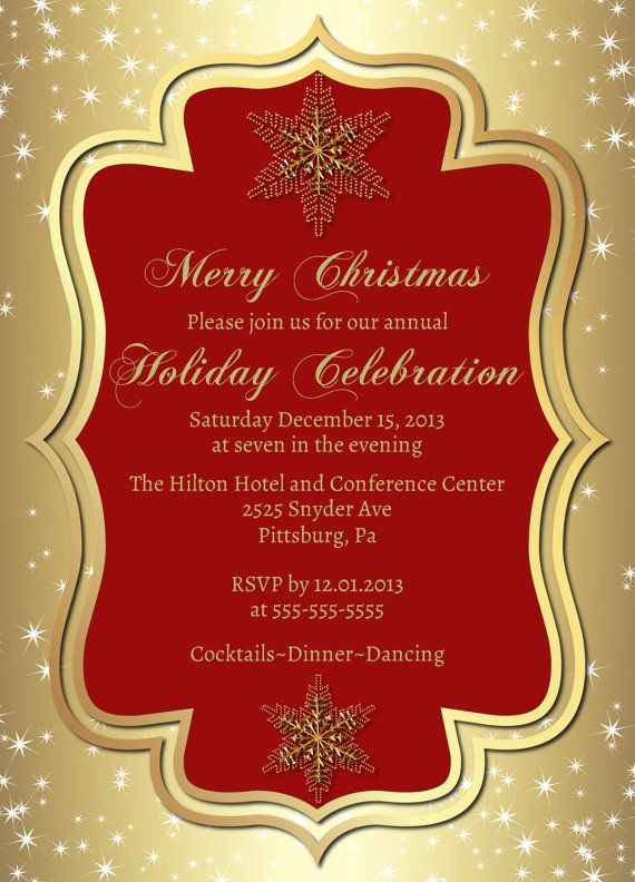 Formal Christmas Party Ideas Part - 37: Gold Christmas Party Invitation-Prinbtable Christmas  Invitation-Elegant-Snowflake-Holiday Invitations-New Years-Office Party- Formal-Hanukkah