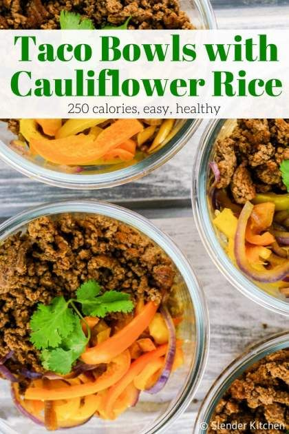 Meal Prep Taco Bowls with Cauliflower Rice can be made in under 20 minutes and are a low carb, Whole30, and Paleo friendly lunch that is packed with flavor. Plus it's zero Freeestyle SmartPoints and only 250 calories. | Taco Bowls | Cauliflower Rice | Lunch | Slender Kitchen | Whole30 | Low Carb | Paleo | Weight Watchers | #slenderkitchen #healthyrecipes #tacobowl #whole30 #paleo #lowcarb #weightwatchers