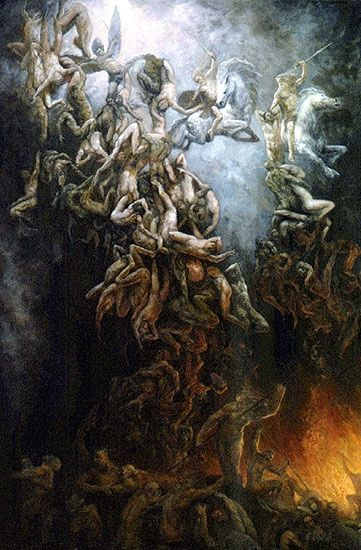 This is a painting by Marc Fishman, called Fall of the damned. This looks like a war took place between good and evil. The fallen angels are being cast down to hell for their defeat in battle against God. I think it's a beautiful painting.