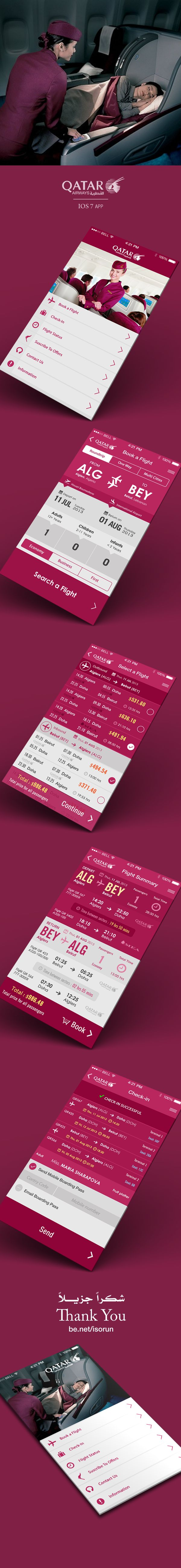 Flight Search App IOS 7 by Yasser Achachi , via Behance