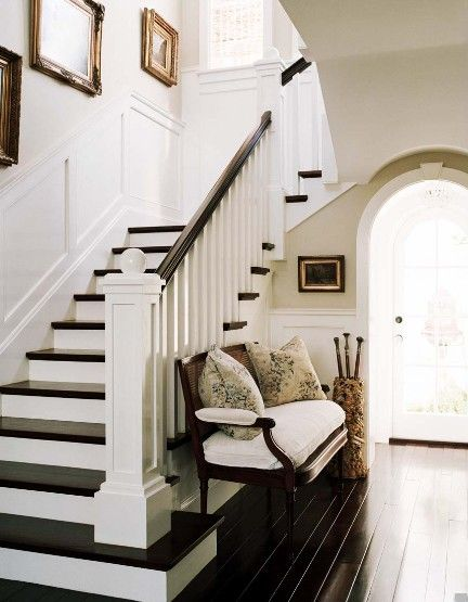 Stair color: Ideas, Benches, Dark Wood Floors, Staircase, House, Homes, White Wall, Stairways, White Stairs