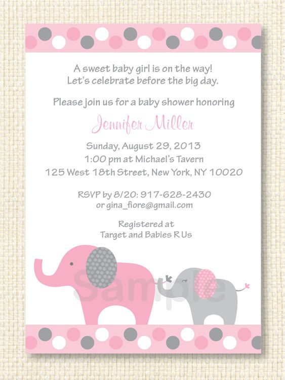 Pink Elephant Baby Shower Invitation Polka Dot Elephant Instant