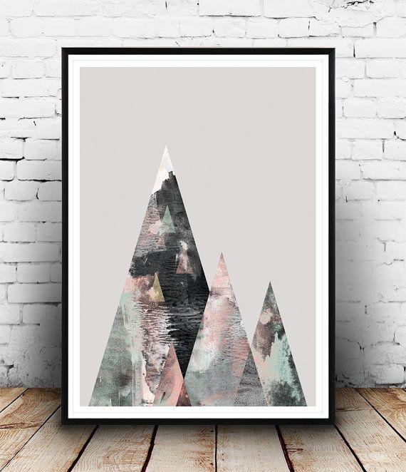 Watercolor print, Geometric art, Abstract wall art, Scandinavian art, Home decor, Watercolor art, Mountains print, Wall prints, modern art  Dimensions