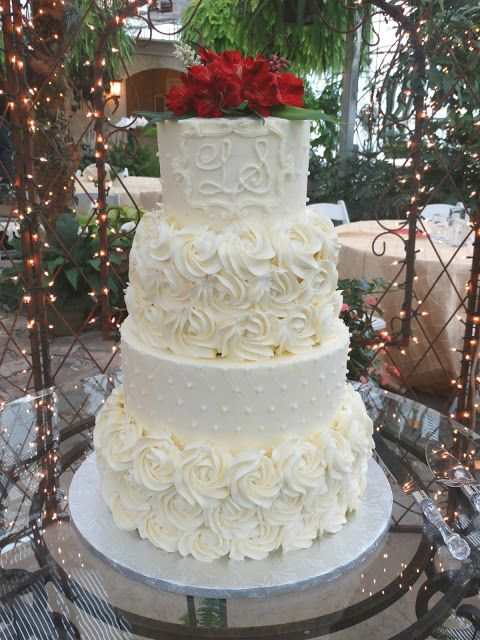 Sweets to the Sweet: Quilting and Rosettes Wedding Cake