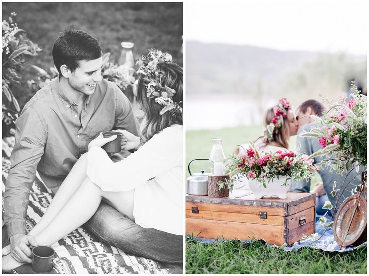 www.vanillaphotography.co.za - Styled engagement shoot, picnic, flowers, flower crown, kiss, couple