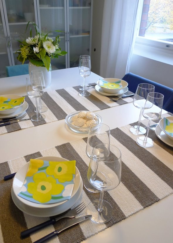 grey and white linen poppana by Homecrafts Finland