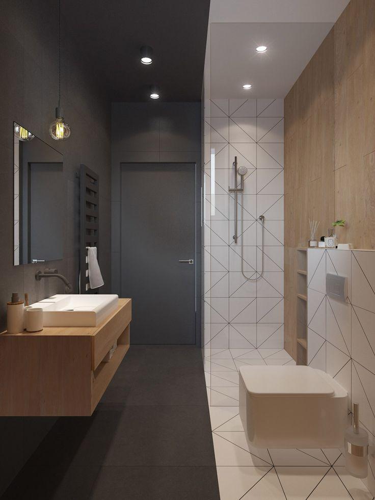 Piccolo bagno scandinavo molto originale in bianco e nero con dettagli in legno