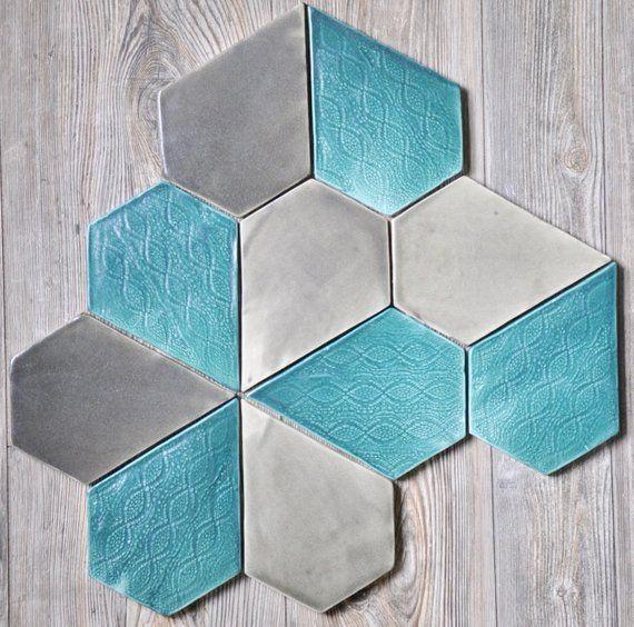 Ceramic Tile Bespoke Geometric Backsplash Kitchen Bathroom Mid Century Modern Contemporary Farmhouse Custom Texture Handmade Ceramic Tiles Tiles Texture Tiles