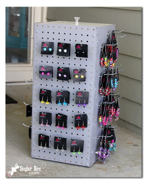 here's how to make your own spinning display pegboard case - so much cheaper than buying one - - Sugar Bee Crafts: Spinning Display Rack