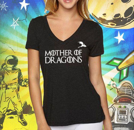 Vintage Black Mother of Dragons Women's Triblend Deep V-Neck T-Shirt Game of Thrones Mother of Dragons