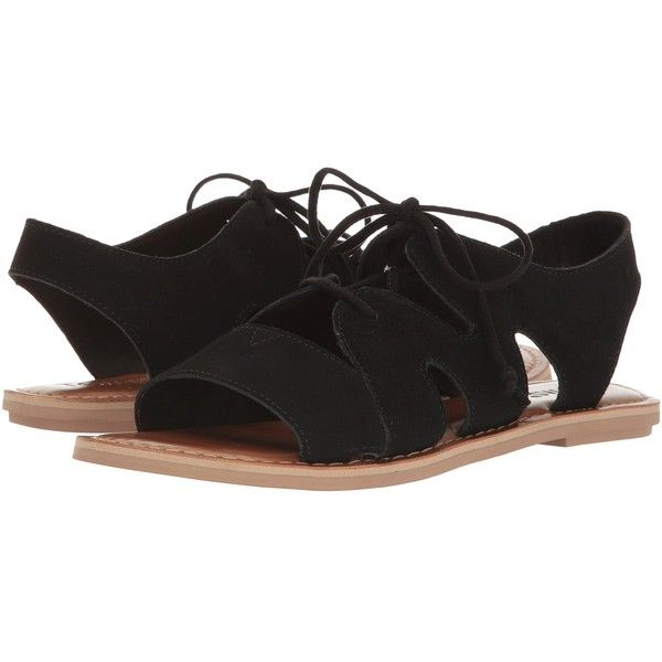 TOMS Calipso Sandal (Black Suede) Women's Lace up casual Shoes ($69) ❤ liked on Polyvore featuring shoes, sandals, black lace up sandals, platform sandals, suede lace up sandals, beach sandals and black platform shoes