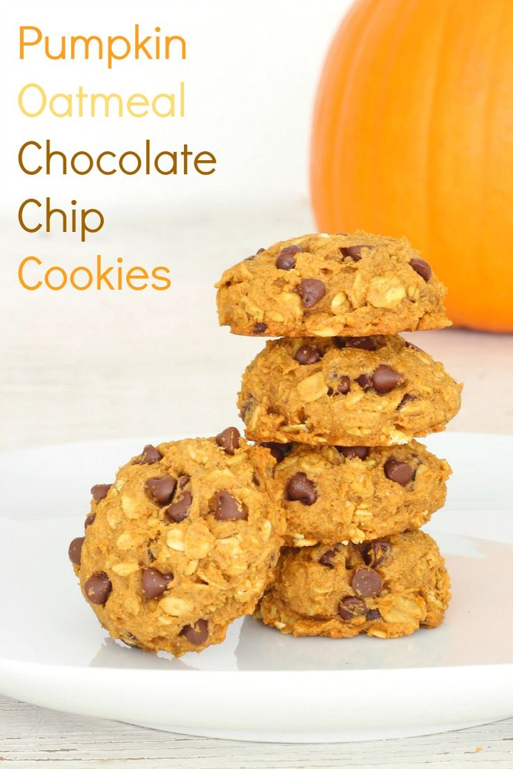 Pumpkin Oatmeal Chocolate Chip Cookies - healthy whole wheat oatmeal cookies that are packed with pumpkin and a little chocolate