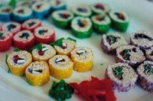 Not-sushi: made from rice krispy treats-like recipe with kiwi, strawberries, and fruit roll-ups for centers. (Author calls it Vegan April's Fools' Day Sushi!)