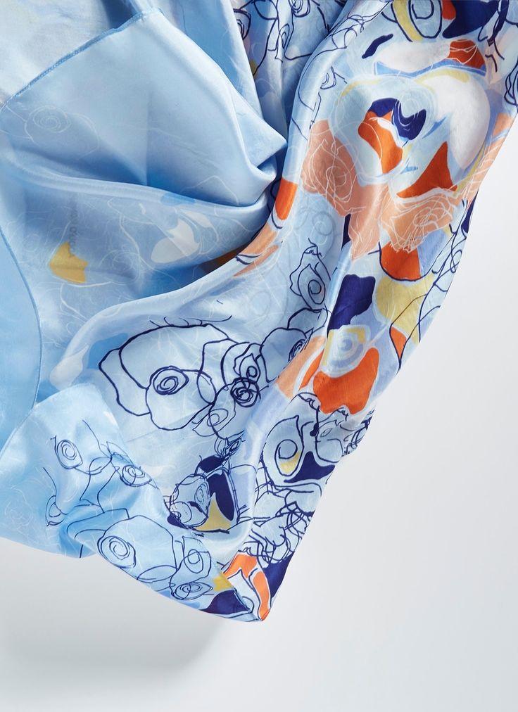 Pañuelo de seda con flores - AD Mujer   Adolfo Dominguez shop online