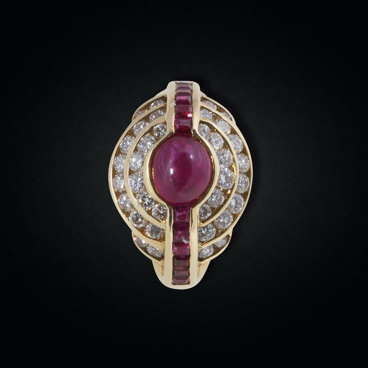 18K Yellow Gold Cabochon Ruby Ring with Diamonds