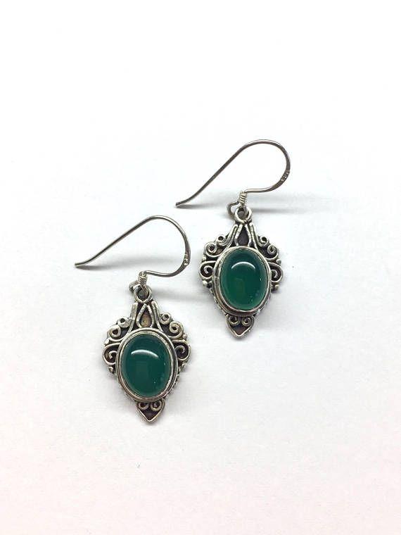 Green Agate Earrings Green Agate Filigree Earrings Green