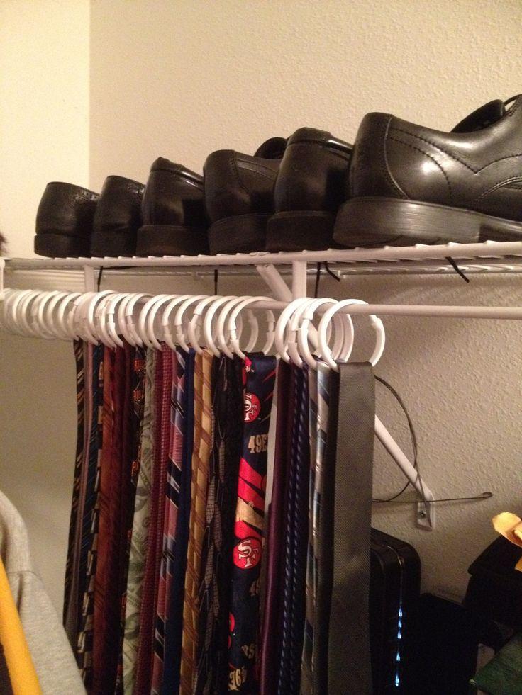 homemade tie rack: use shower curtain hooks to organize ties