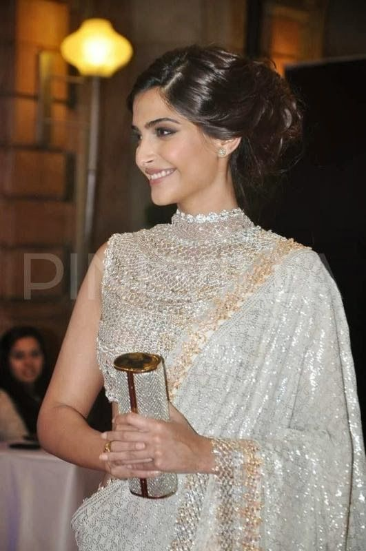 Sonam Kapoor in beautiful Saree & high neckline Blouse at sangeet ceremony of Ahana Deol, Feb, 14