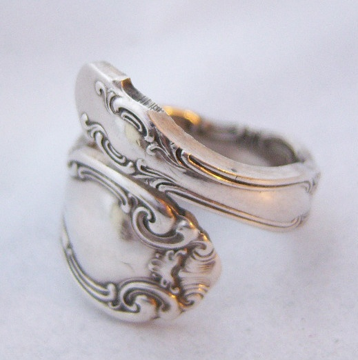 Vintage Alvin Sterling Silver French Scroll Spoon Ring
