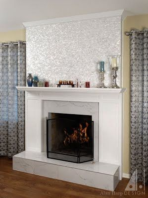 Fireplace Mantel With Painted Wood Surround Framing Marble Tile Hearth And  Surround. Topped With Mother